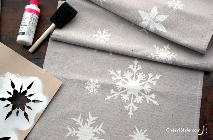 Stenciled Snowflake Table Runner Fun Family Crafts