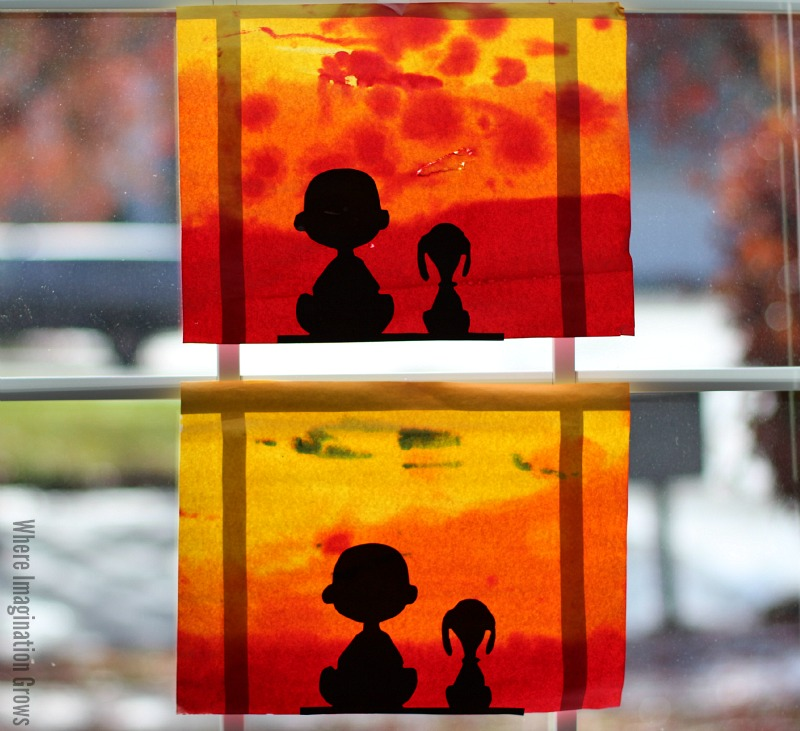Charlie Brown And Snoopy Sunset Silhouette Fun Family Crafts