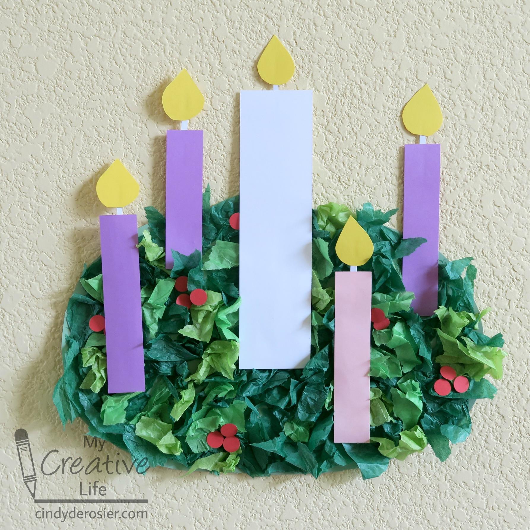 Tissue Paper Advent Wreath