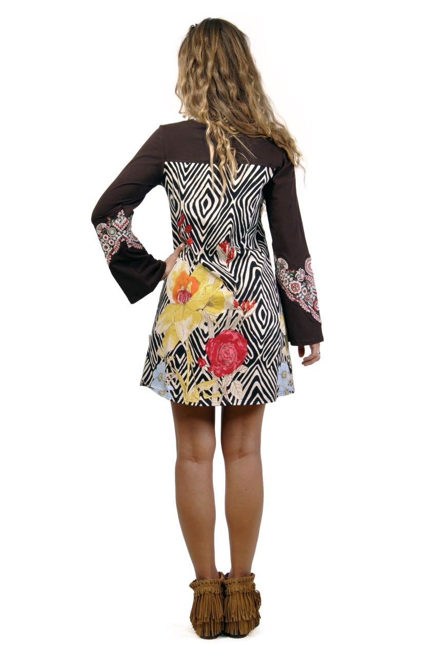Savage Culture Dress Mirta 29122  Brown Empire Cut Dress
