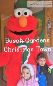 Visit Elmo at Busch Gardens Williamsburg Christmas Town Holiday in the Park
