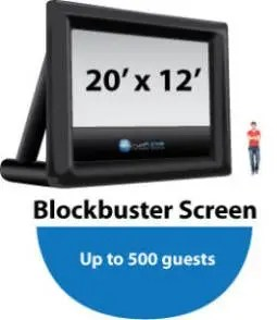 Inflatable projector screen size for Blockbuster events