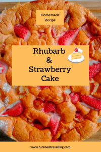 rhubarb and strawberry cake on the plate