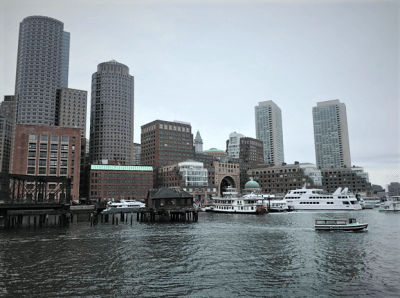 view on the Boston city center from river