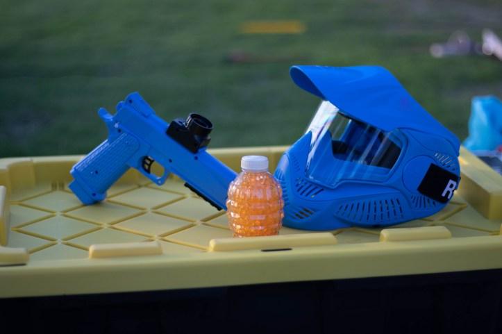 GellyBall gun, ammo, and mask