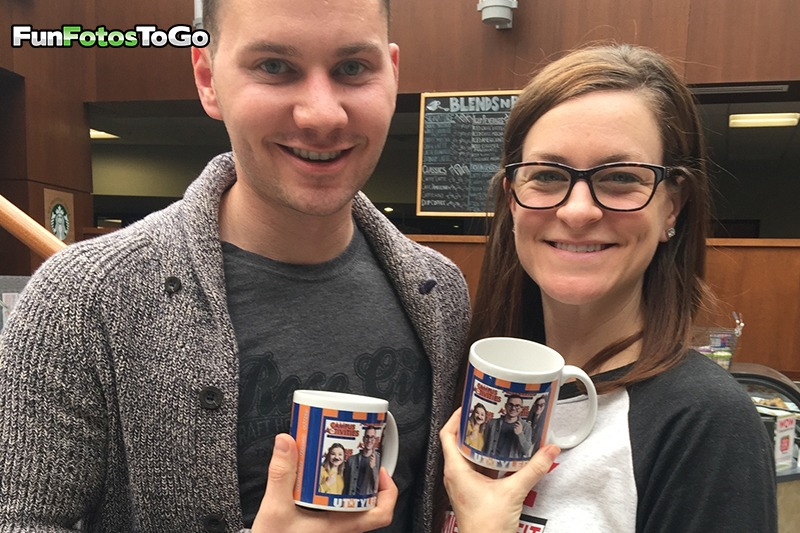 Photo Mugs and happy college students