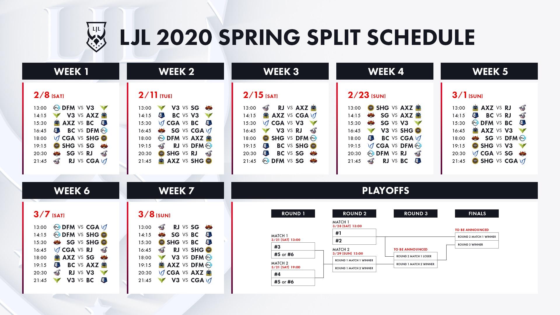「LJL 2020 Spring Split」スケジュール