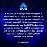 17567「EVO 2020」が新型コロナウイルス(COVID-19)の影響により開催中止を発表