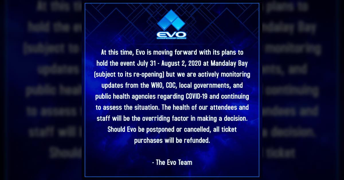 因新冠病毒的影響「EVO 2020」將決定中止或是延期活動