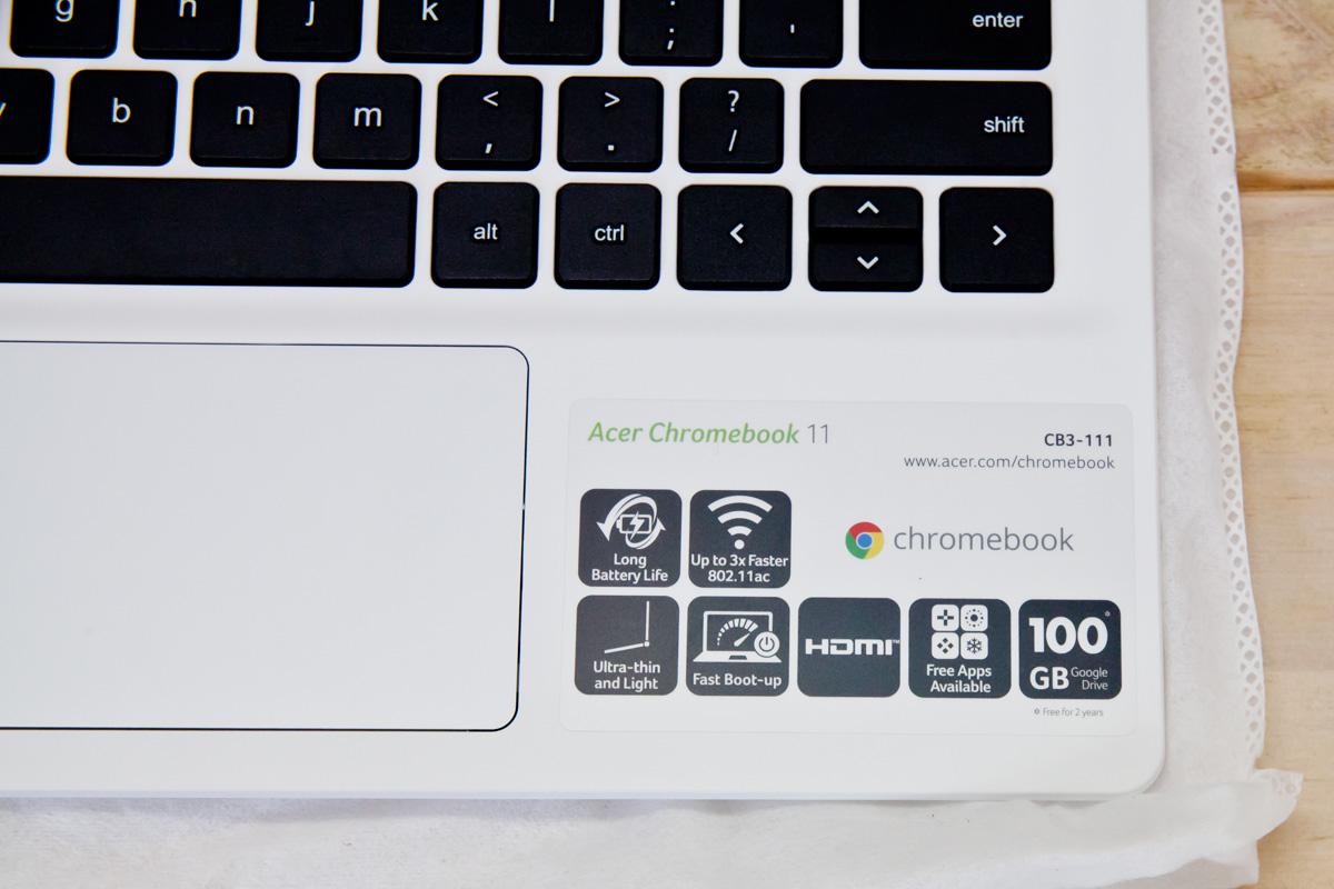 Acer Choromebook11 手元の簡易仕様アイコン