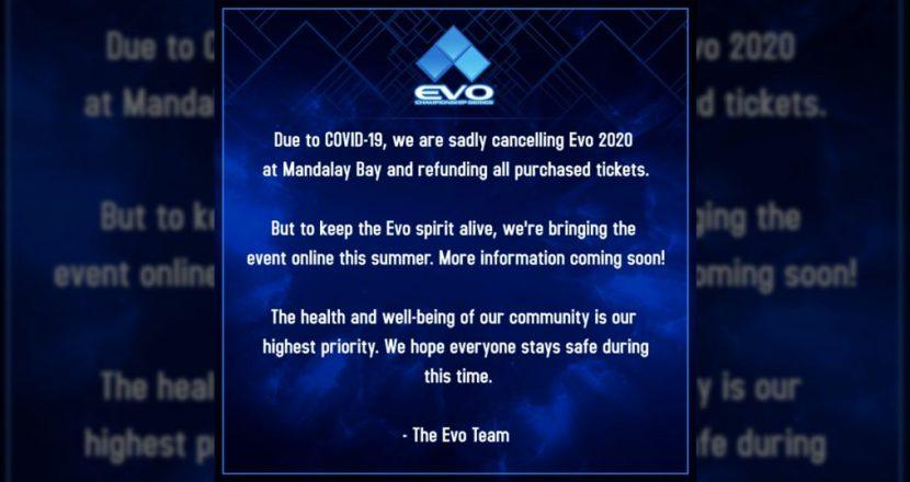「EVO 2020」が新型コロナウイルス(COVID-19)の影響により開催中止を発表