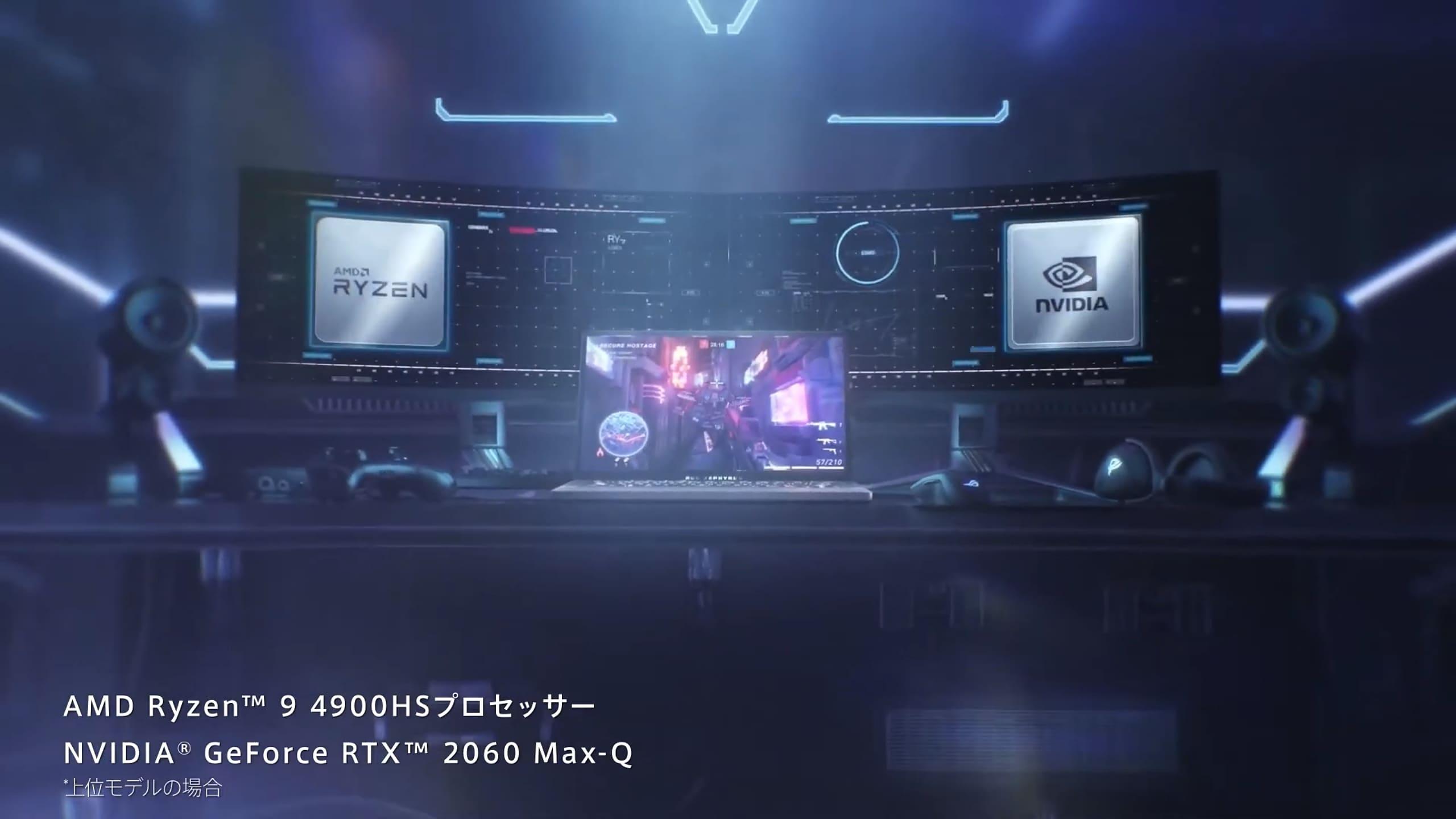 上位モデルにはAMD RYZEN 9 R9-4900HS、NVIDIA GeForce RTX 2060 Max-Qを搭載
