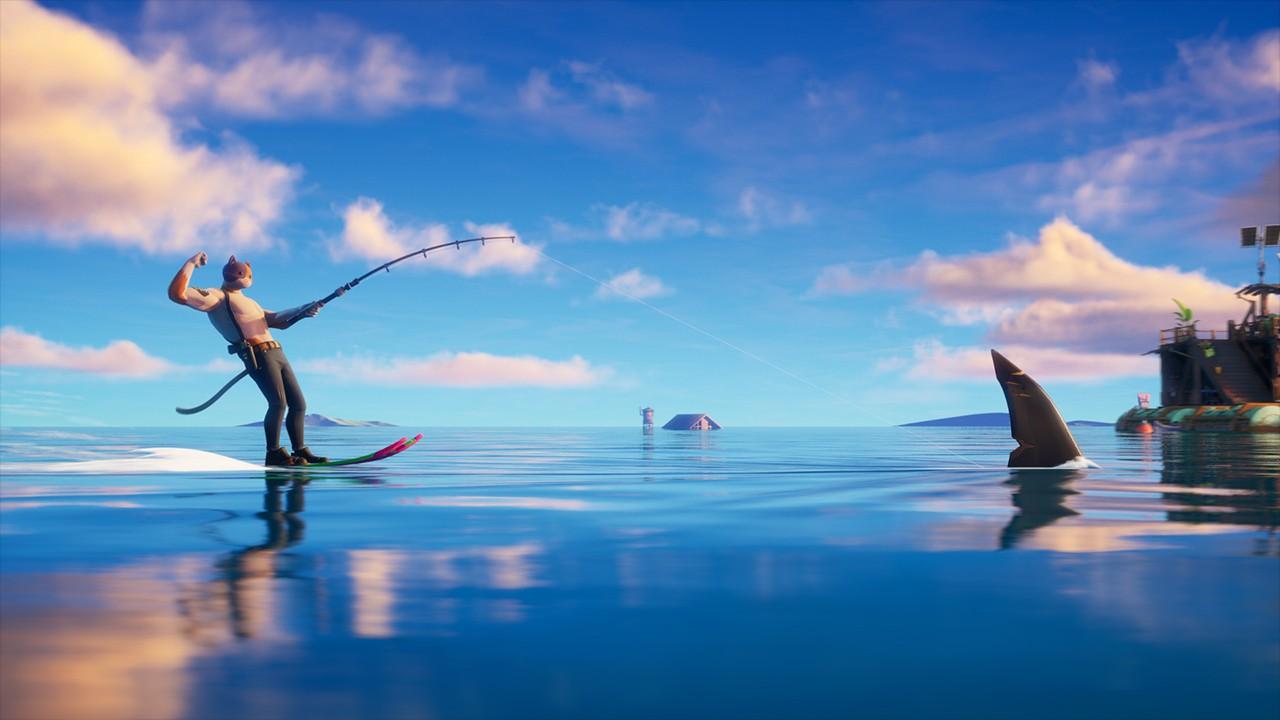 サメを利用した水上スキー