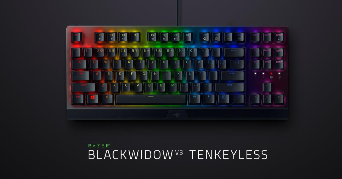 Razerから人気モデルの後継機コンパクトゲーミングキーボード「RAZER BLACKWIDOW V3 TENKEYLESS」が8月31日に発売!