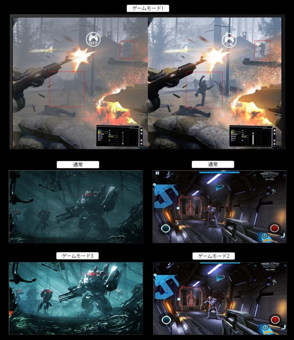 ゲームモード搭載でゲーム中の視認性を向上