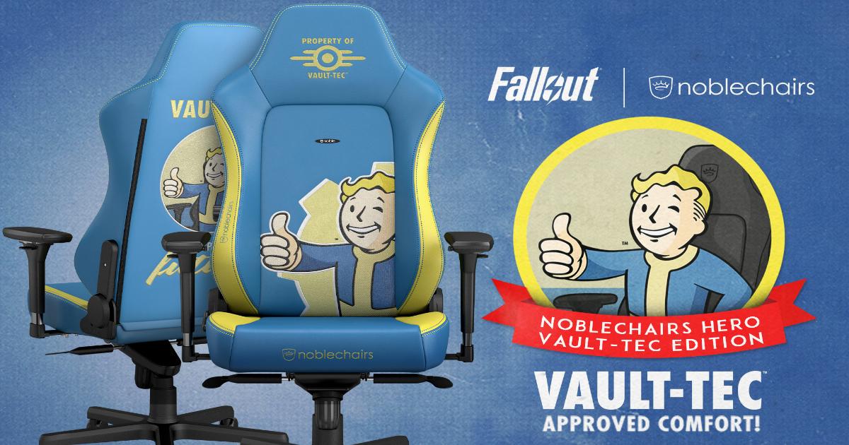 noblechairsから大人気ゲーム「Fallout」シリーズとコラボしたゲーミングチェア「HERO Fallout Vault-Tec Edition」が発売!