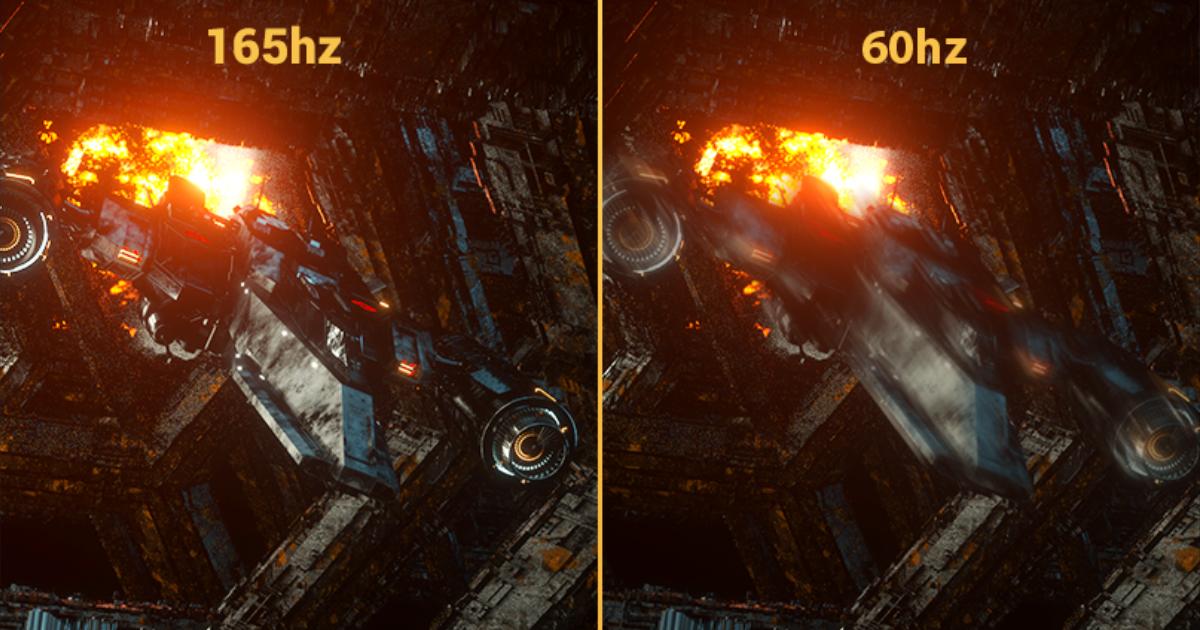 リフレッシュレート165Hzと60Hzの比較(イメージ)