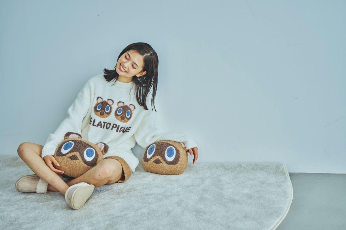 ジャガード編みのやさしいデザイン「つぶきち&まめきち」ニットトップス