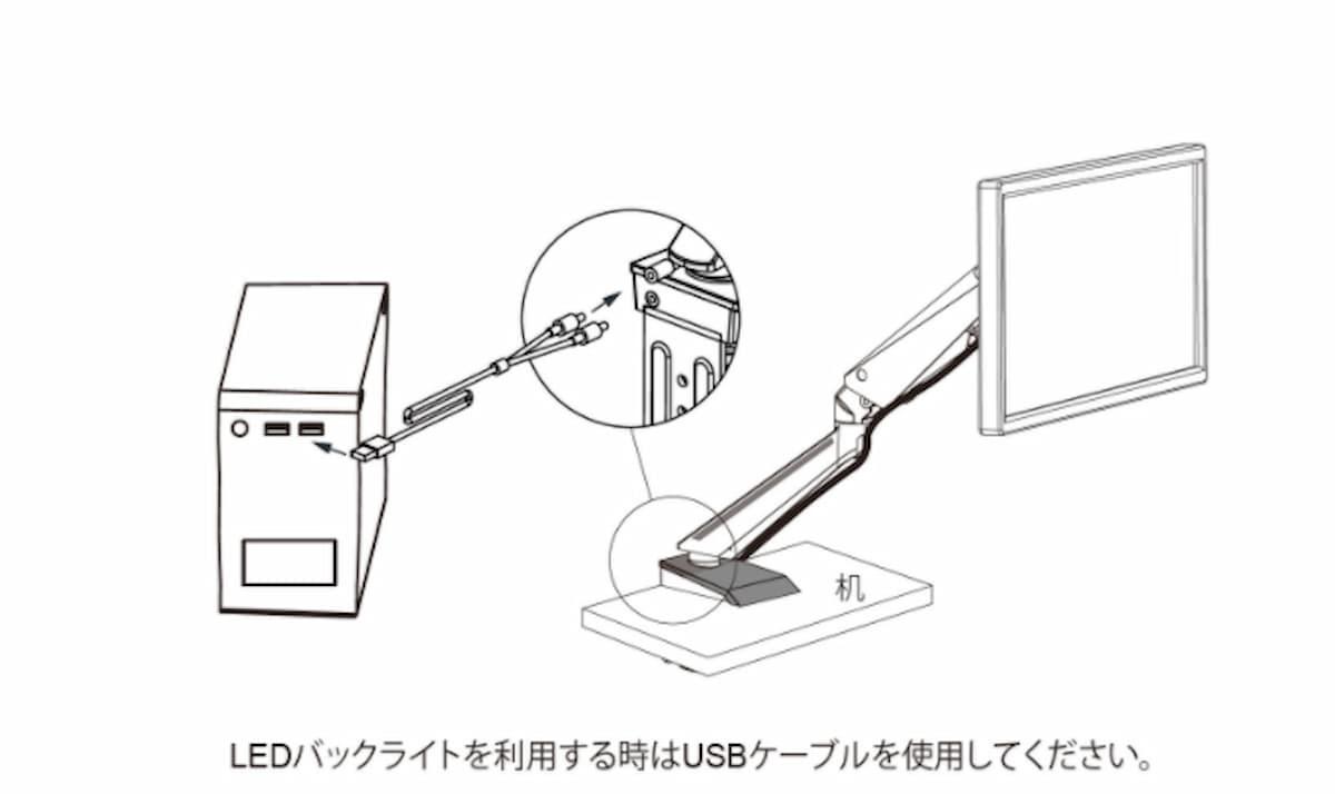 USBケーブルで給電