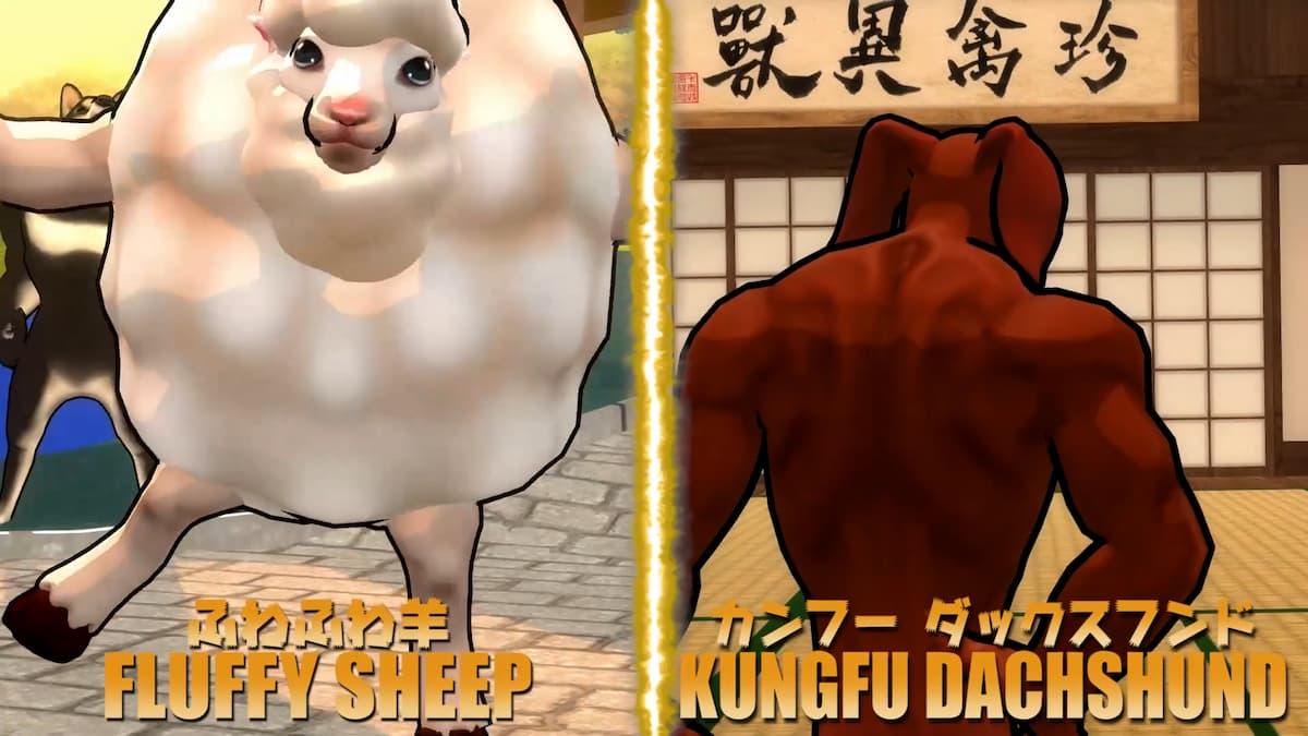 ふわふわ羊(左)・カンフーダックスフンド(右)
