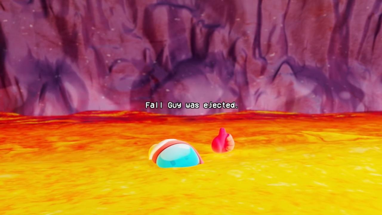 FallGuyが親指を立てながら溶岩に沈んでいくシーン
