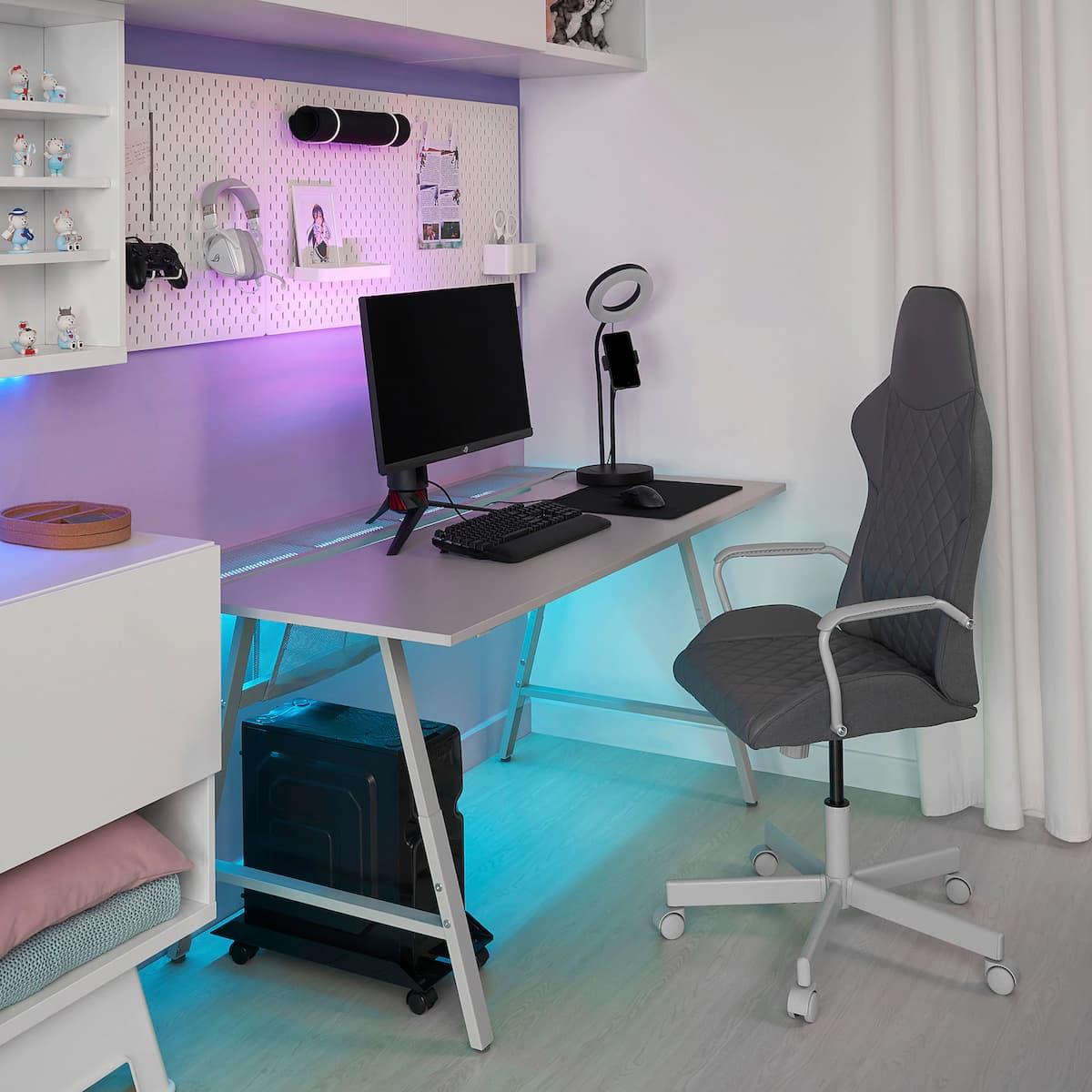 UTESPELARE gaming desk(Light gray)
