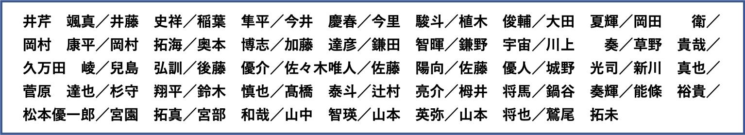 INDIVIDUAL MATCH出場者(敬称略・五十音順)