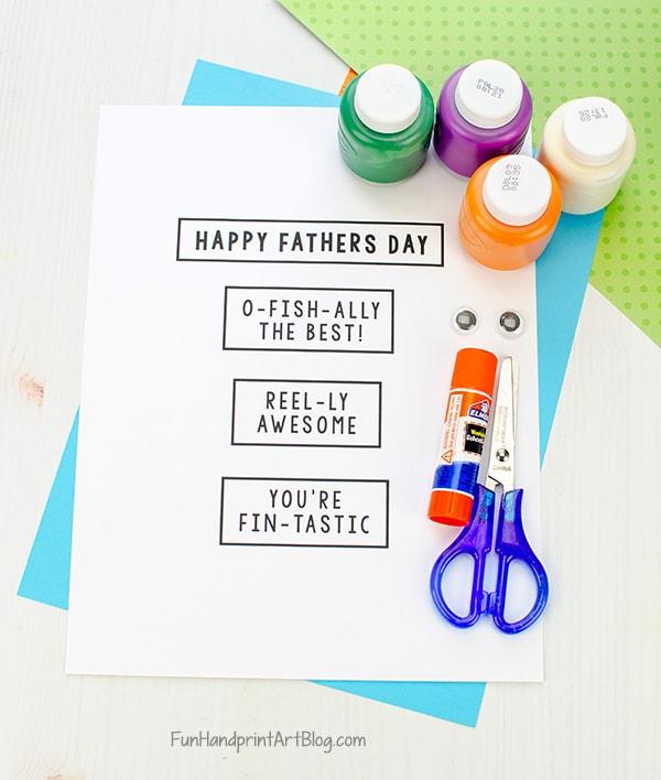 Free Printable Father S Day Fishing Card Craft Fun Handprint Art
