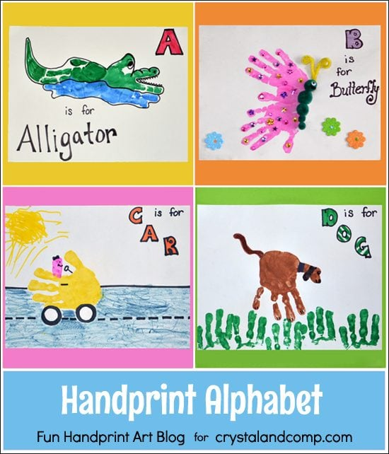 Handprint Alphabet Letters A B C D Fun Handprint Art