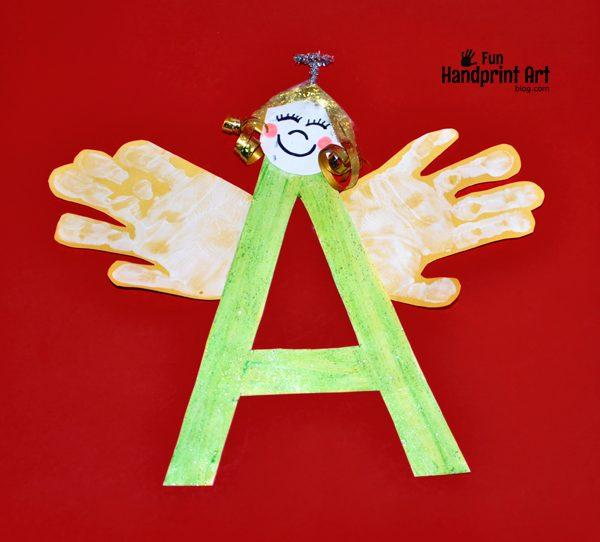 Letter A Handprint Angel Craft  Fun Handprint Art