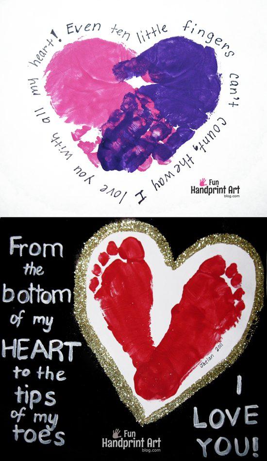 Footprint Heart With Poem Keepsake Fun Handprint Art