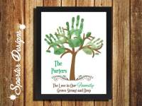 Family Fingerprint Tree Keepsake with Saying 'Love Grows Here'