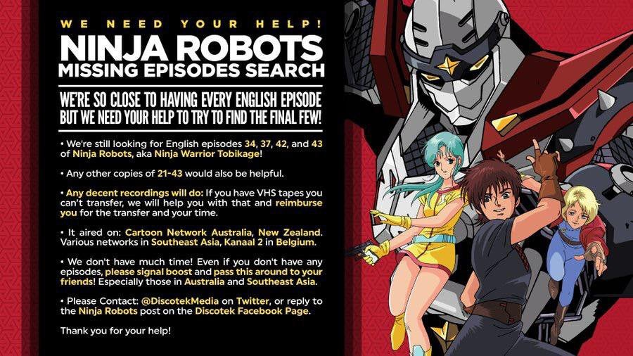 Nearly Last Call for Helping Discotek Find Lost Ninja Robots Dub. All Necessary Info in the Image. (crosspost)