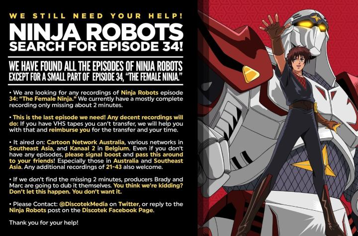 Only one episode left to find of the Ninja Robots Dub. We are so close. Please continue the search. (crosspost)