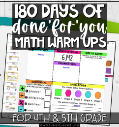 180 Days of 'Done-For-You' Math Warm Ups for 4th and 5th Grade   Fun in 5th  Grade [ 2048 x 2048 Pixel ]