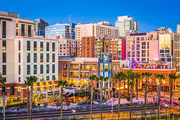 Busy San Diego Downtown During the Day, Ring in the New Year Style