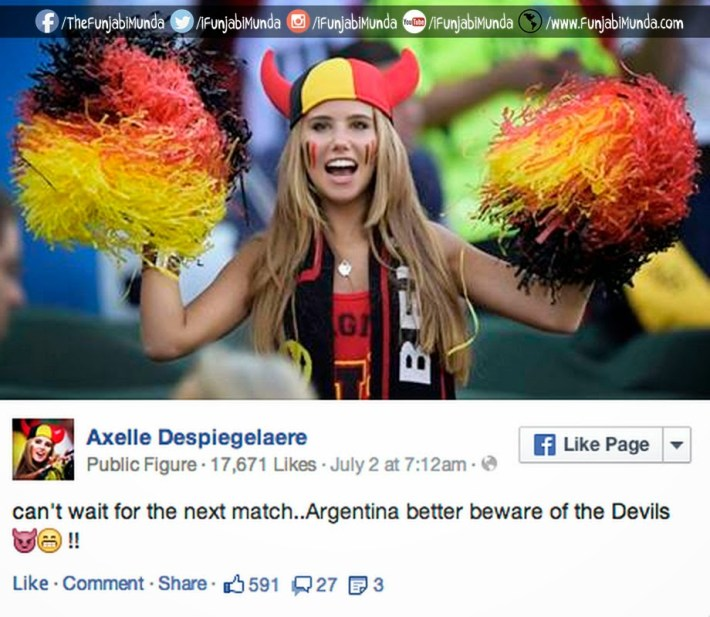 17 Year Old Cute World Cup Fan Axelle Despiegelaere from Belgium
