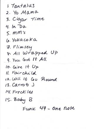 NMS Set List