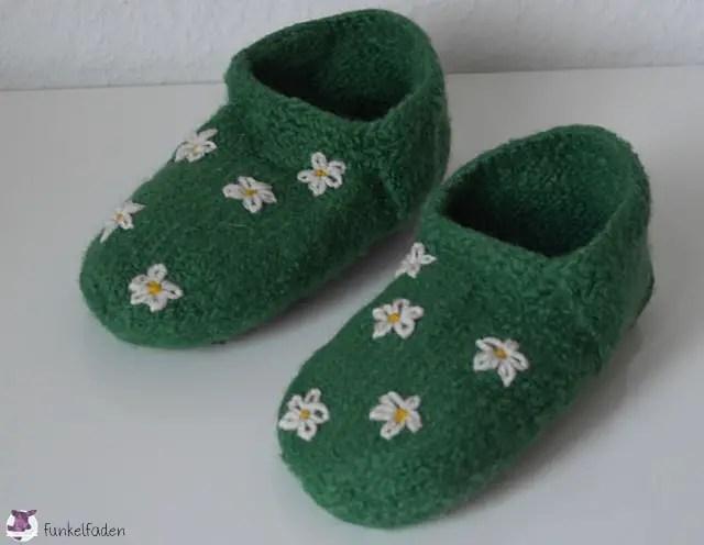 Schuhe strickfilzen mit Rutschfesten Sohlen