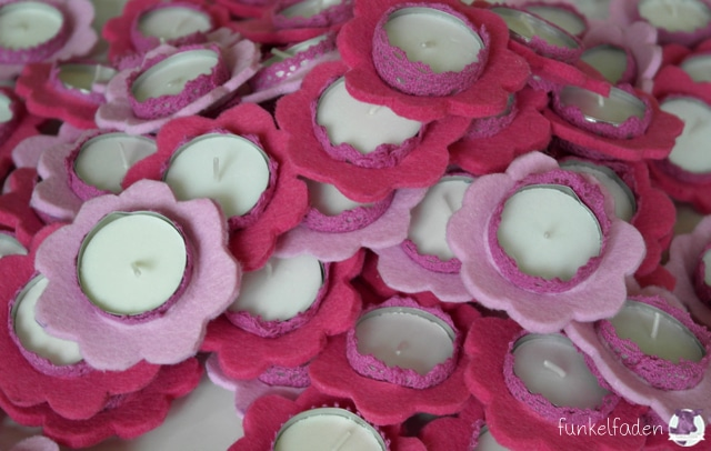 Frühlingsdeko - Kerzen aus rosa Filz
