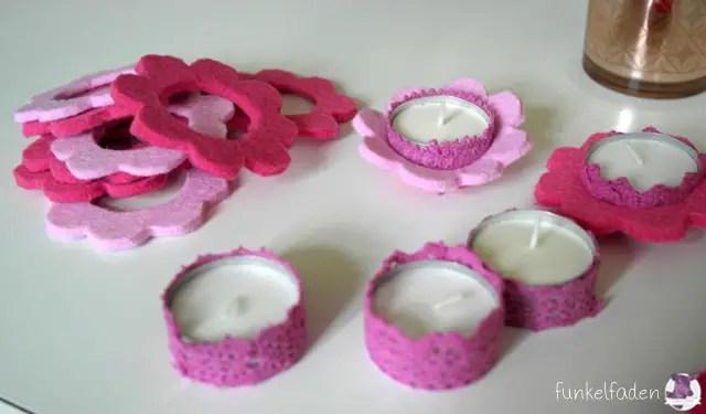 Kerzen dekorieren mit Filzblumen