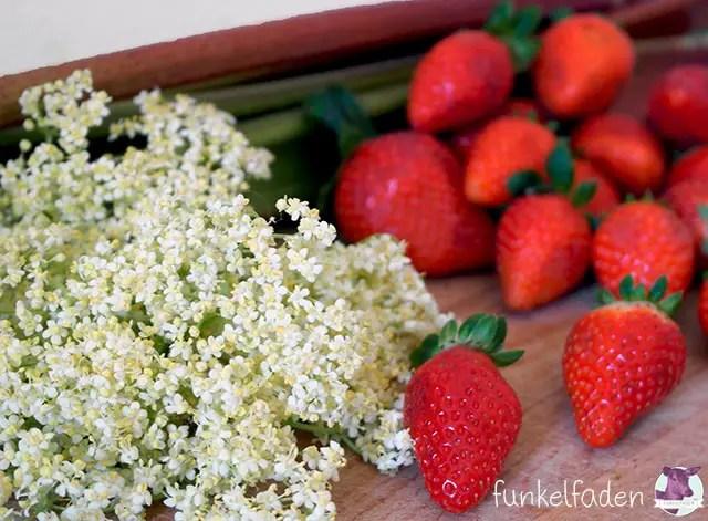 Rezept - Erdbeer-Holunderblütenmarmelade