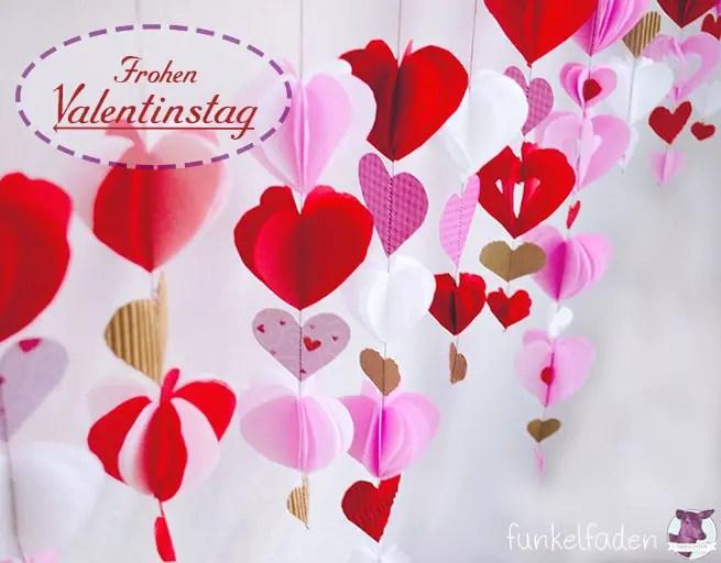 DIY - Valentinstag - Girlande mit Herzen