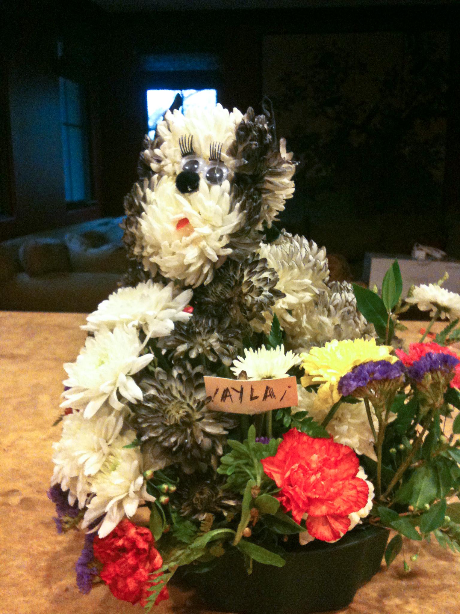 Boston terrier floral arrangement - funk in deep freeze