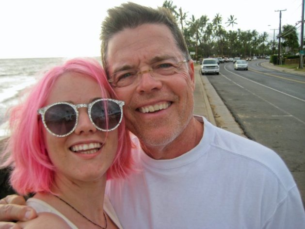 My dad and me on a walk in Maui.