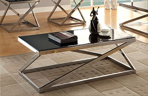 Geometric Cross Design Beveled Tempered Glass Top Coffee Table