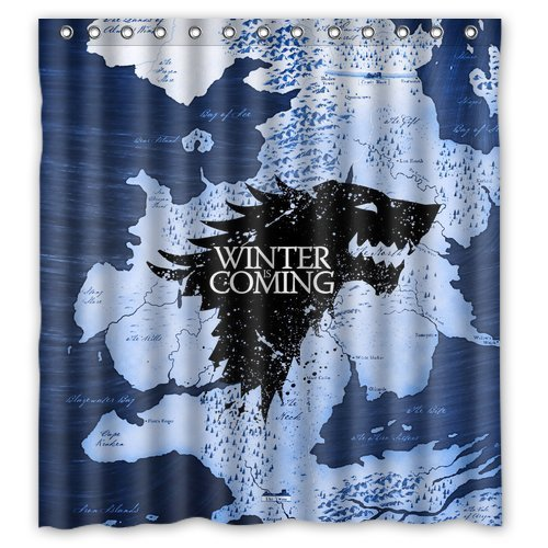 """Winter is coming"" shower curtain."