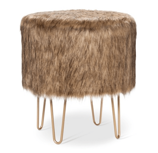 Fur Ottoman with Hairpin Legs
