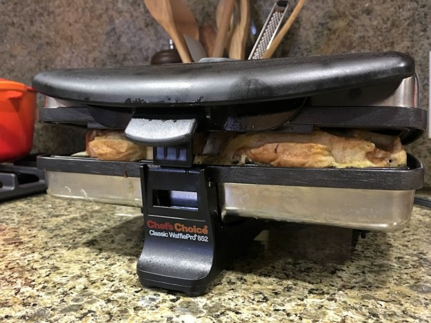 french toast waffles being waffled