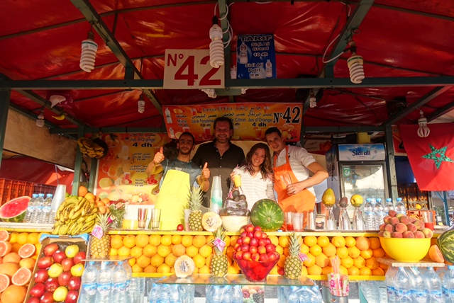 There are a lot of fresh juice-makers in Jemma el-Fna, but stall number 42 is the best! Marrakech food tour
